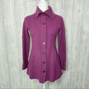 Patagonia merino wool lilac longline cardigan sweater coat w/pockets M swacket